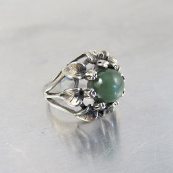 Arts and Crafts Chrysoprase Flower Ring Bernard Instone Style, Leaves Petals Flowers Jewelry, 1930s Vintage Antique Jewelry, JP Ring Sz 4.50