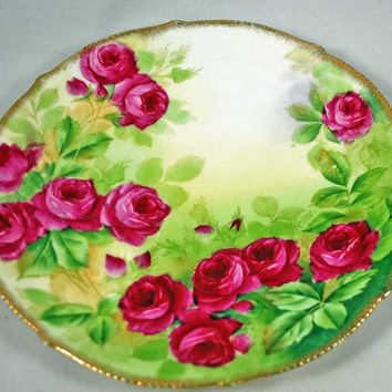 Vintage Bavarian China Plate - Stunning - Antique - Roses - Gold Trim - Stunning