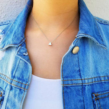 Dainty Triangle Charm Necklace - 16k gold plated