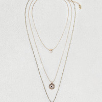 AEO Evil Eye & Horn Layered Necklaces, Gold