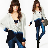 NWT NASTY GAL GREY BLUE OMBRE TWIST FRONT SWEATER KNIT LOOSE LONG SLEEVE DIP DYE
