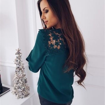 Green Long-Sleeved Casual Lace Long-Sleeved Chiffon Top