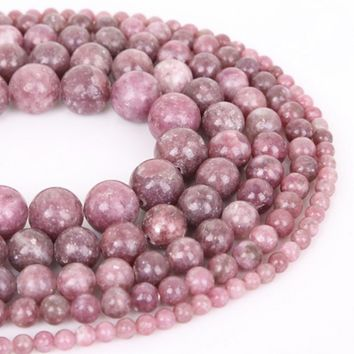 Natural Stone Purple Lepidolite Round Loose Beads Pick Size 4/6/8/10/12MM For Jewelry Making DIY