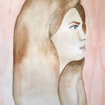 Brunette in Profile Watercolor Painting, Painting of a Woman, Portrait of a Girl