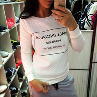 Hot Popular Long Sleeve Round Necked Alphabets Words Top T-Shirt _ 12628