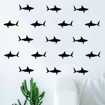 Set of 42 Sharks Pattern Decal Sticker Wall Vinyl Art Home Decor Teen Nursery Animals Ocean Beach Fish Nautical