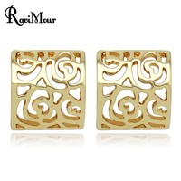Fashion Women Jewelry Neat stud earrings Hollow Flower brincos grandes Gold Earrings for Women Men Jewelry bijoux