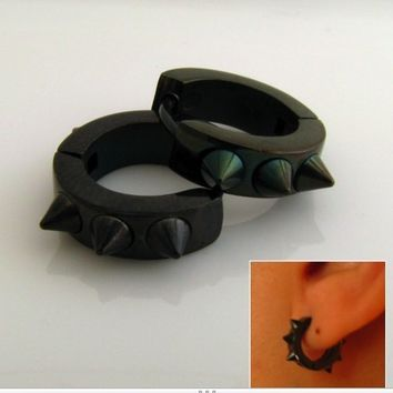 Mens Spike Earrings Black Huggie Hoop  Ear Cartilage by 360Jewels