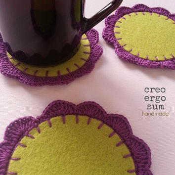 Felt crochet coasters, set of three, home decor, cotton circle coeaster, purple/green