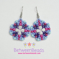 Beaded Earrings Hot Pink Blue Violet Earrings Colorful Shades Turquoise Purple Multi Color Jewelry Wife Sister Gifts Big Large Size Simple