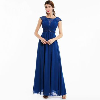 Beaded evening dress dark royal blue cap sleeves floor length a line dresses  women lace scoop neck long evening gown