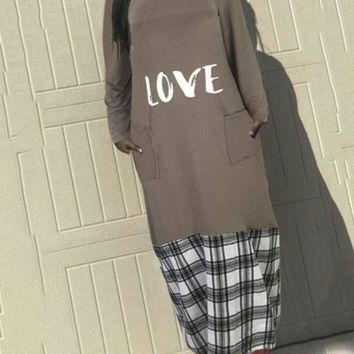 "New Grey Flannel ""LOVE"" Pockets Long Sleeve Round Neck Casual Maxi Dress"