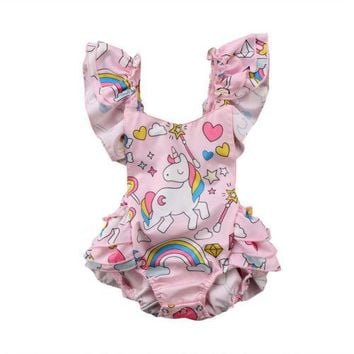 Newborn Baby Girls Clothes Pink Backless Unicorn Ruffle Romper Jumpsuit Outfits 0-2Y