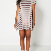 Burgundy Knit Striped Tent Dress | Mini Dresses | rue21