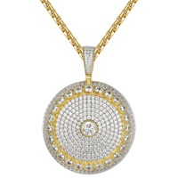 Solitaire Iced Out Custom Circle Medallion Silver Pendant