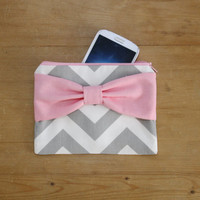 Cosmetic Case / Zipper Pouch / Makeup Bag - Gray and White Chevron Medium Pink Bow - Customizable Bow Style