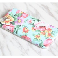 Pink Turquoise Floral Tough Protective iPhone 6s Case iPhone 6 plus S7 Edge SE Snap Case 3D 977
