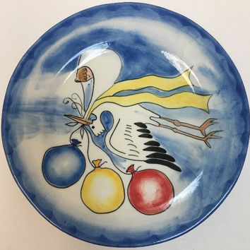 Mesa Intl. Stoneware Stork Balloons Hand Painted Baby Shower Oven Safe Plate