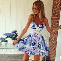 Summer Beach Holiday Lace Lace Spagehetti Strap Casual Party Playsuit Clubwear Bodycon Boho Dress _ 4356