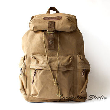 BACKPACK Camera Safari Bag/Medium Padded Camera Insert/ Canvas backpack/ Genuine Cow Leather Men's leather bag/Messenger bag / Laptop bag