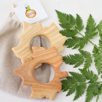 Teething pacifier Maple Leaf Newborn Toy Baby shower Eco friendly Toy Handmade Baby toy Toys for babies Eco teether