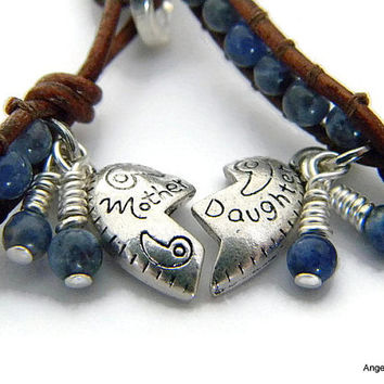 Mother Daughter Bracelet Set Sodalite Bracelets Leather Wrap Bracelet Single Wrap