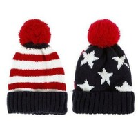 LOCOMO Men Women Boy Girl US Flag Knit Beanie Hat Cap Warm FAF023