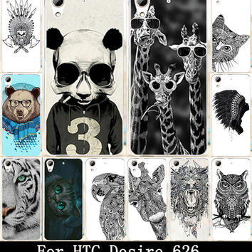 Hot Animal Owl Giraffe Cat Elephant Painted Fashion Cute Lovely UV Print Hard Cover Case For HTC Desire 626 Case Skin Shell Hood