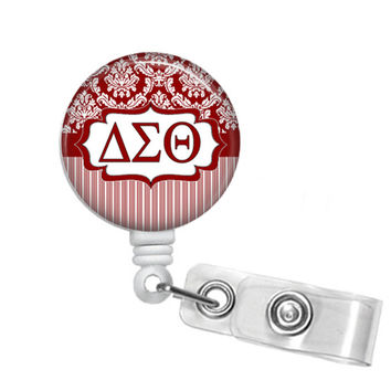 Delta Sigma Theta Sorority Damask & Stripes ΔΣΘ Badge Reel, Retractable Badge ID Holder