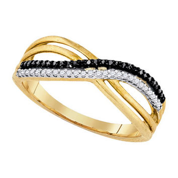 Diamond Micro-pave Ring in Gold-plated silver 0.15 ctw