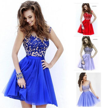 2015 European Summer Dress Strap Lace Hollow Chiffon Dress Women Evening Dresses = 1946179076