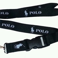 POLO LANYARD/ KEY CHAIN BADGE HOLDER, BLACK & WHITE