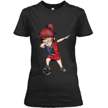 Dabbing Soccer Girl France Jersey Shirt - French Football Ladies Custom