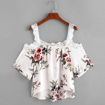 Off The Shoulder Lace Trim Floral Casual Summer Beach Girl Crop