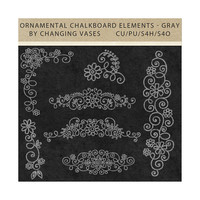 Digital Graphics, Ornamental Chalkboard Flourishes, Light Gray Chalk Clipart, Clip Art, Digital Scrapbook Kit Embellishments Commercial Use
