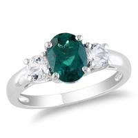 1 5/8 Carat Created Emerald and White Sapphire Fashion Ring in Sterling Silver