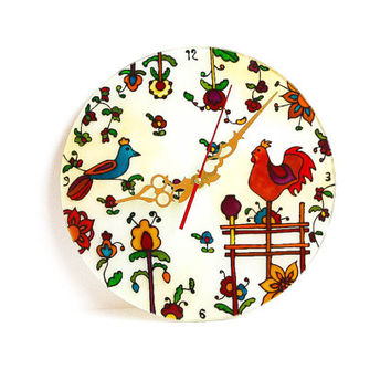 "Painted Wall clock. D- 11.811"". Wall decor. Wall art. Stained glass."