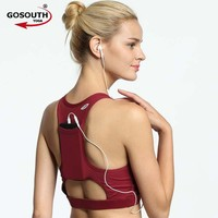 Woman Push Up Sports Bra With Pockets  Gym Running Padded Tank Top Athletic Vest Yoga Top Shockproof  Sport Bra G-147