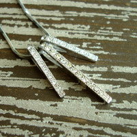Vintage Rhinestone Pendant Necklace, Silver Vertical Bar Necklace, Simple Modern Minimalist Necklace, Snake Chain, Bridal Wedding Jewelry