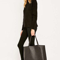 Black Vegan Leather Simple Tote Bag - Urban Outfitters