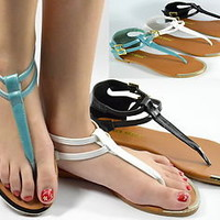 Womens Sandals Flat Gladiator Thong Strappy Summer Sandal Teal Black White NEW