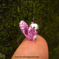 Sweet Tiny Squirrel  Micro Crochet Small Amigurumi by SuAmi