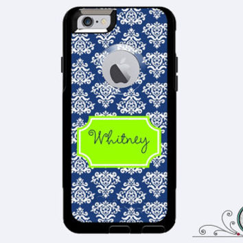 iPhone 6 Otterbox Commuter Case Monogrammed Damaske Custom Color Initials Personalized Cell Phone Case Protective Plastic Hard Cover