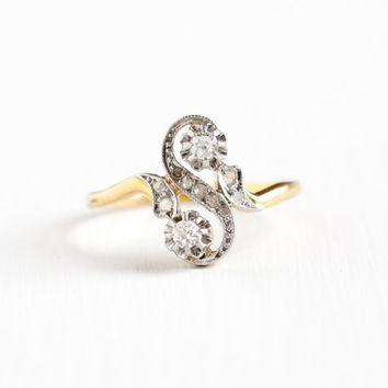 Antique 18k Yellow Gold & Platinum Diamond Moi et Toi Ring - Vintage Edwardian Early 1900s Two Tone Bypass Crossover Fine Engagement Jewelry