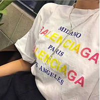 Balenciaga Fashion Women Men Loose Gradient Color Letter Short Sleeve Round Collar T-Shirt Top White I12658-1