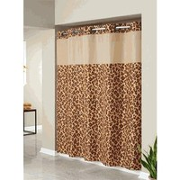 Hookless®  Shower Curtains |  Discount Hookless® Fabric Shower Curtains - Leopard Animal Print Fabic Hookless Shower Curtain with Snap in Peva Liner and Sheer Window