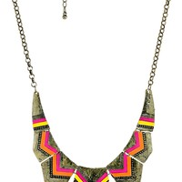 Chevron Stripe and Hammered Stations Statement Necklace