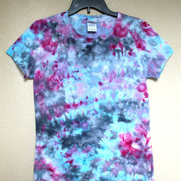 Tie Dye Ladies Medium Shirt Ice Dye Pink Blue and Black Custom Dyed Shirt