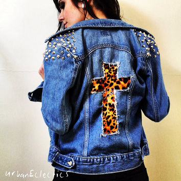 Spiked Denim Jacket with Leopard Cross
