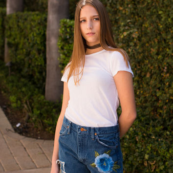 Wrangler Cut Offs with Embroidery Flower